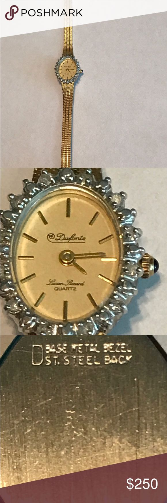 This watch is in excellent condition Needs a new battery. Real diamonds . This is yellow gold filled. In excellent condition. Vintage watch no scratches on the face. Please feel free to make reasonable offers. Lucien Piccard Accessories Watches