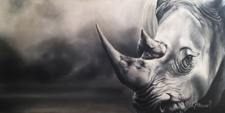 The simplistic tonal background allows the viewer to focus on the rhino, a sense stillness and peace is evoked when confronting this painting.