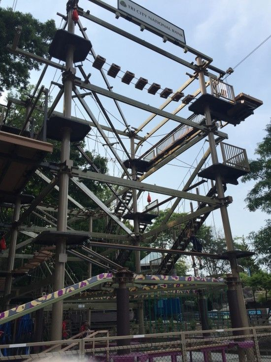 Family Fun at the Sky Trail at the Milwaukee Zoo! Ropes course and zip line too!