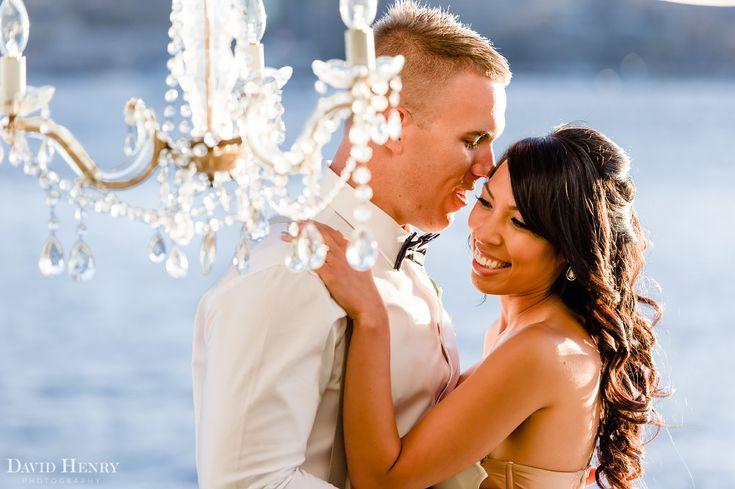 Sydney Harbour Wedding photos, with chandelier