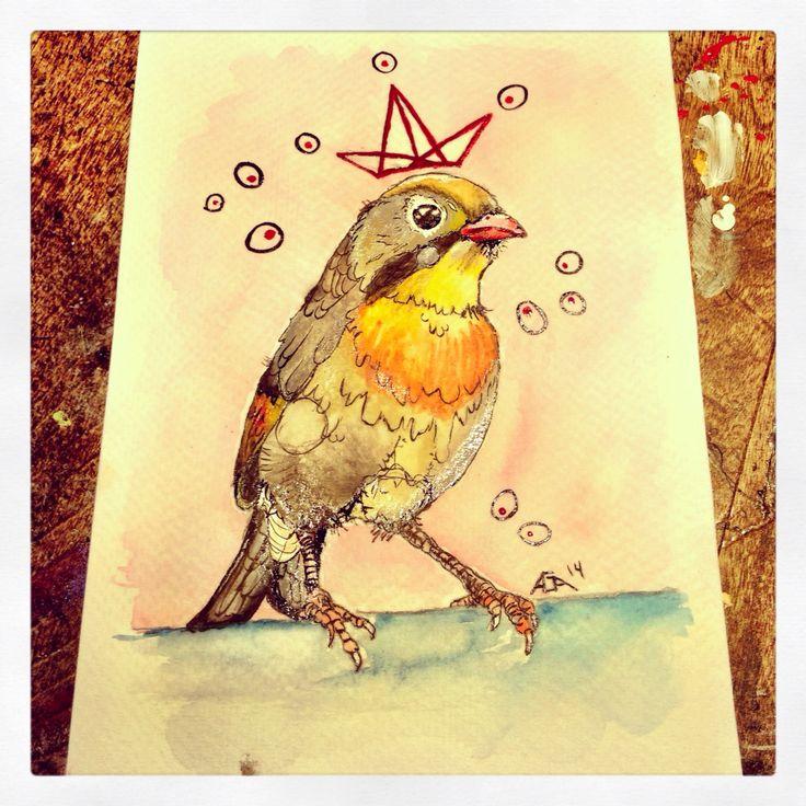 #aga #art #paint #watercolor #bird #crown