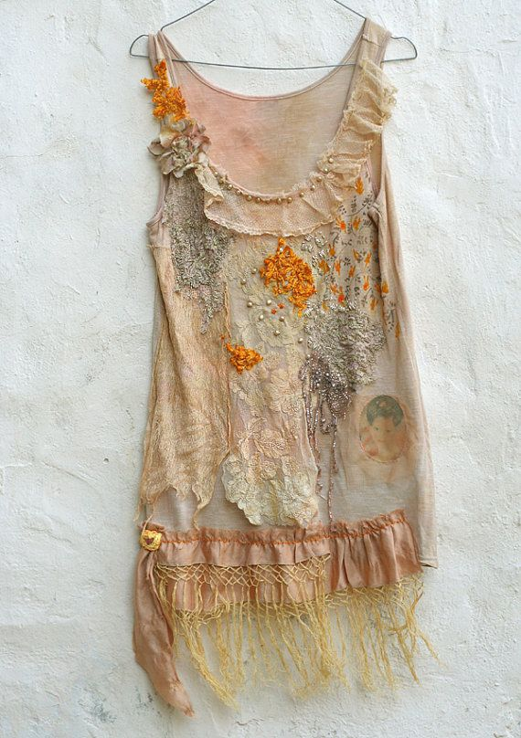 honeysuckle-- romantic top or tunic, pale peach, yellow and cream, bohemian, textile collage wearable art $186