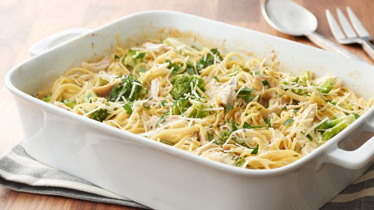 Enjoy this hearty 5-ingredient chicken, broccoli and spaghetti bake. Sure to become a family favorite.