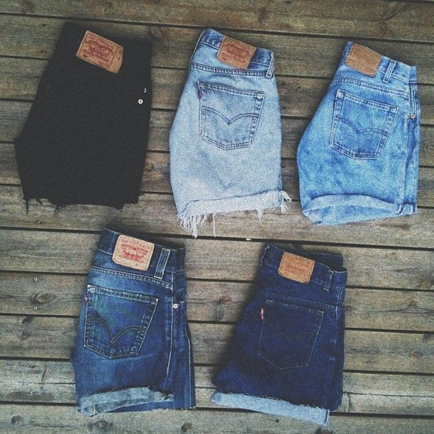 Denim Levi cutoffs | I wonder where you can get these, because I know woman's Levi's look a little different than these, they must be cut off from a small men's size.