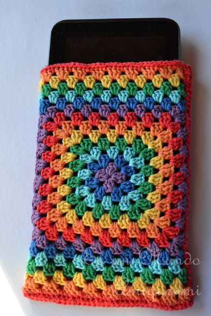 GrannySquare crochet tablet cover. Easy to follow visual instructions (if you can't figure it out already.) ¯\_(ツ)_/¯  ☀CQ #crochet #grannysquare Thanks for sharing!