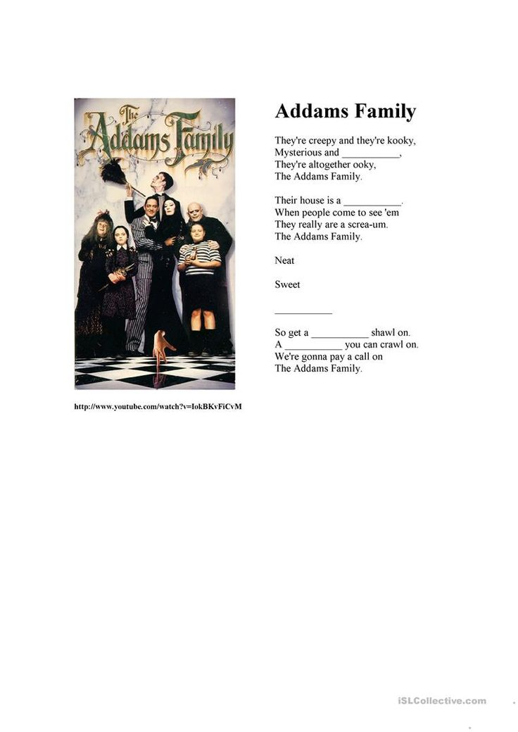 """""""The Addams Family"""" song worksheet - Free ESL printable worksheets made by teachers"""