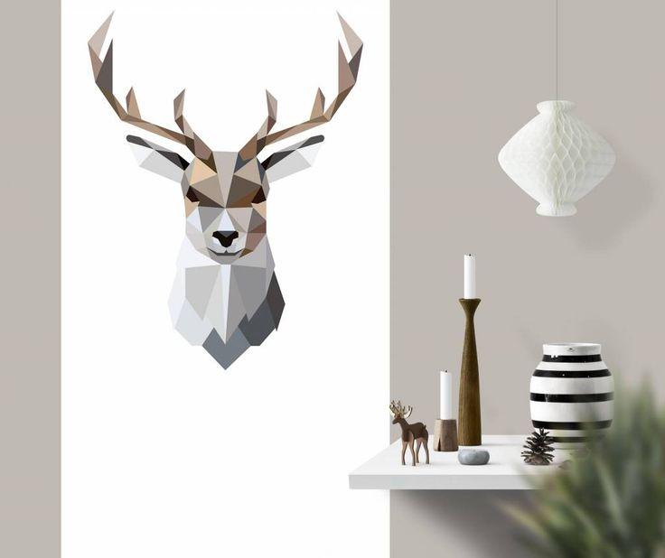 Behangposter edelhert   geometric wallpaper poster   Designed by Tinkle&Cherry   www.tinklecherry.nl