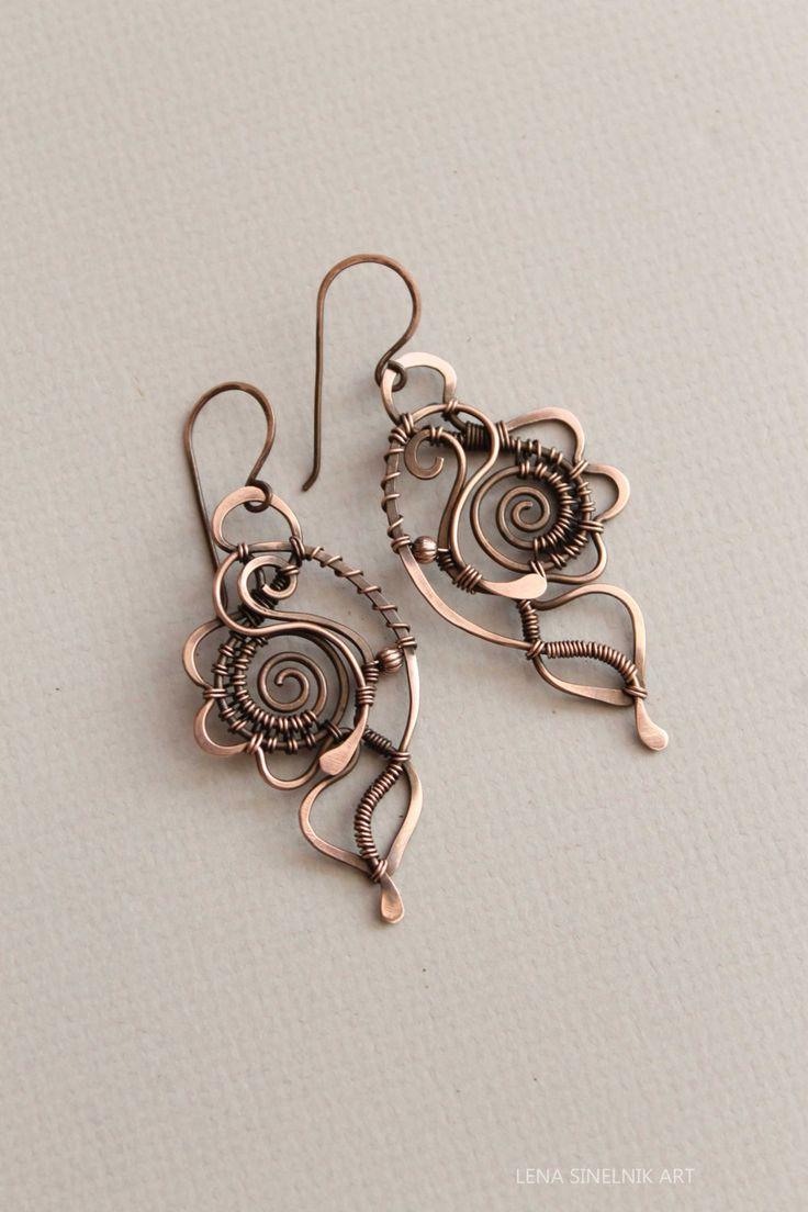 Etsy の Wire wrap earrings copper earrings by LenaSinelnikArt