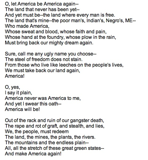 langston hughes let america be america again analysis