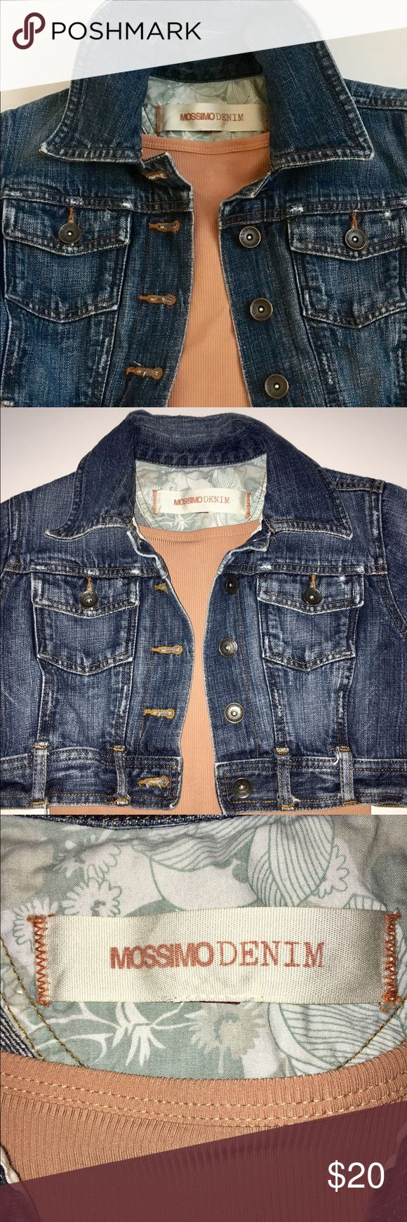 Mossimo Cropped Short Sleeve Jean Jacket This adorable Short Sleeve Cropped Jean Jacket by Mossimo was worn once and is in perfect condition. It can be worn with a belt or simply worn as a cute top! Mossimo Supply Co Jackets & Coats Jean Jackets