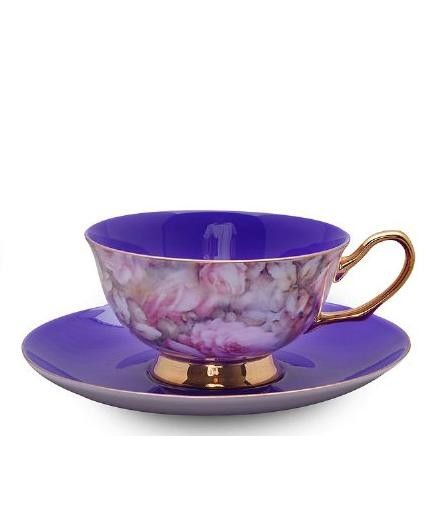 Teacup and Saucer Bone China, Purple Satin Shelly Gift Boxed