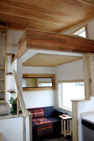 Leaf House Yukon Canada - Living room under clever open loft
