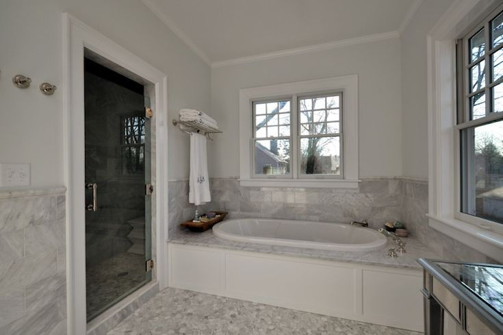 Oval Bathtub, Transitional, bathroom, Anthony James Builders