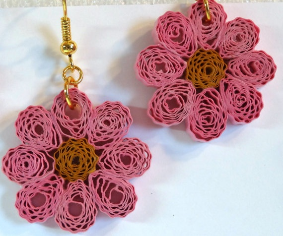 Pink and Dark Orange Quilling Earrings ♥ by QuillingByBetty on Etsy, $8.00