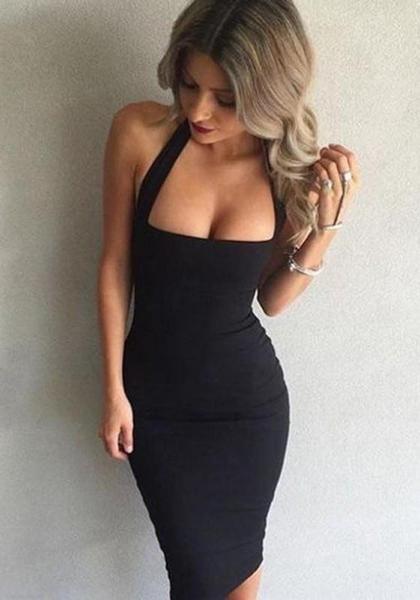 94f5f4f9aa6ff4 Black Halter Neck Backless Sleeveless Slim Prom Evening Party Bodycon Midi  Dress
