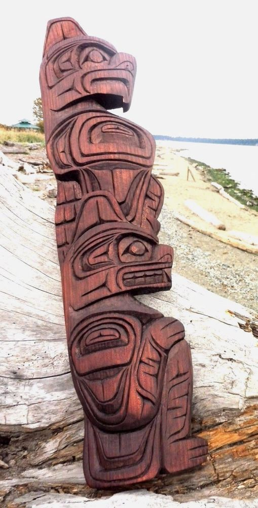 Northwest Coast First Nations Native Wood Art Carved Double Figure Totem Style