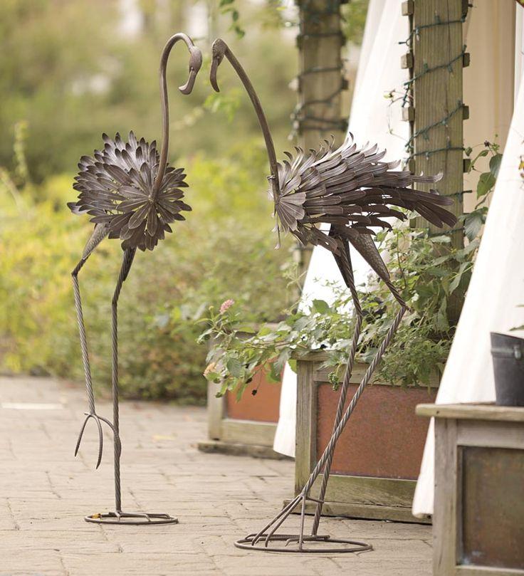 Large Metal Flamingo Statues, Set of 2