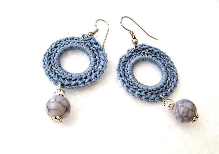 Handmade Ethnic Modern Crochet Earrings  https://www.etsy.com/listing/129358099/orecchini-celesti-ad-uncinetto-con?ref=shop_home_active
