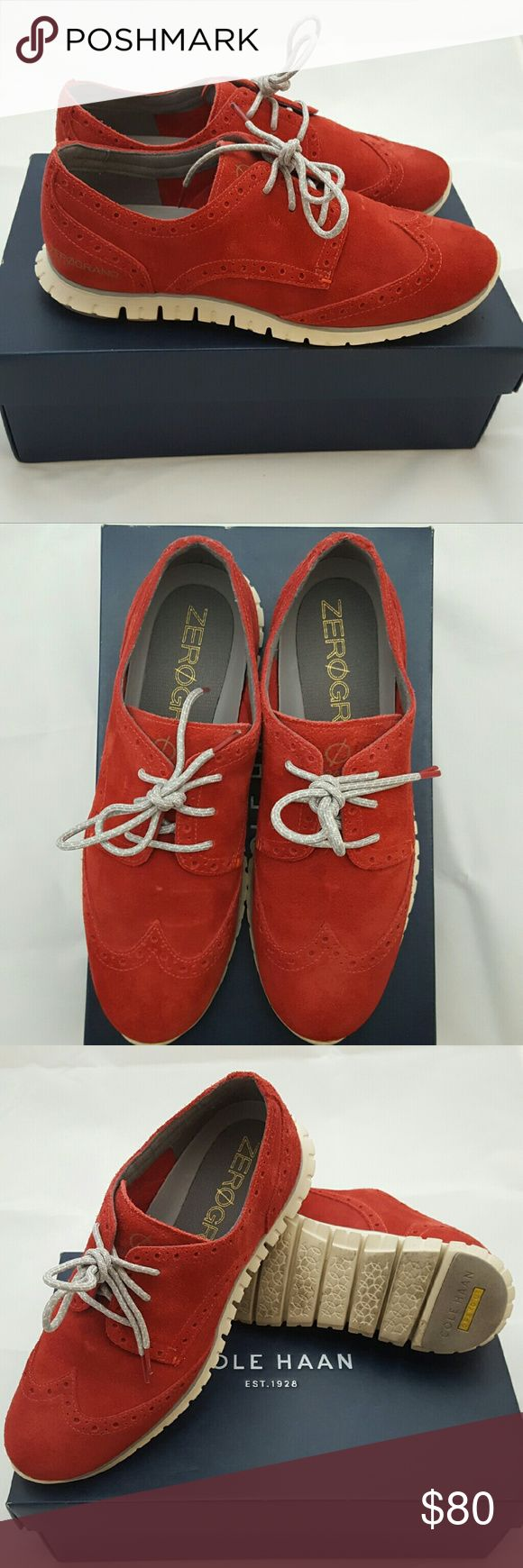 Cole Haan ZeroGrand Wingtip Red Suede Size 7 Worn with love! Worn 4 or 5 times. No stain on suede. So comfortable! Sold to me at Cole Haan San Francisco Outlet without original box, but they gave me a Cole Haan box. Smoke free home. Cole Haan Shoes Sneakers