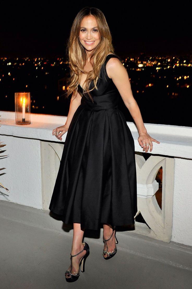 Jennifer Lopez's DSquared2 Dinner DSquared2 Spring 2014 Black Silk Top and Flare Skirt