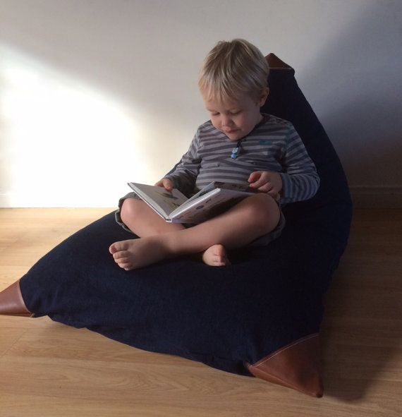 Kids Bean Bag  Pouf  Denim and Leatherette Child Seat by Cyandegre