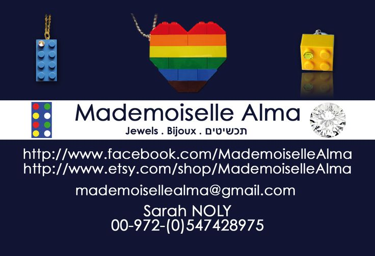 Business card of Mademoiselle Alma - Designer of Jewelry made from LEGO® bricks, SWAROVSKI crystals and of course, a great amount of imagination. *** http://www.facebook.com/MademoiselleAlma Hope you LIKE my Facebook page-shop ♥ & http://www.etsy.com/shop/MademoiselleAlma #LEGO
