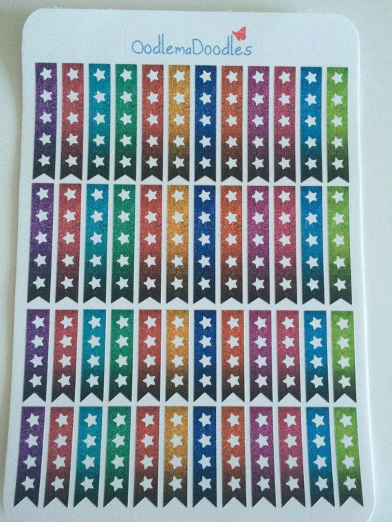 Glitter Print (Not actual glitter) star checklist flags for your Life Planners! With 12 different shades and in two different lengths, these beautiful stickes will meet all your checklist needs.  A Total of 48 water resistant stickers  These planner stickers have been printed using a professional photo printer, with pigment ink.  We offer four different papers at OodlemaDoodles. Please read below to make an informed decision about your purchase. If in doubt, feel free to contact us and we…