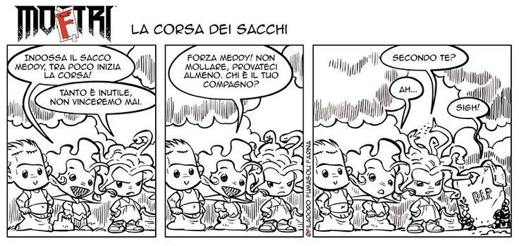 #corsasacchi #comics #MoFtri, le #Strisce di Massimiliano Filadoro, Gianmarco Fumasoli, Adriana Farina per #Mostri, la rivista di #bugscomics.