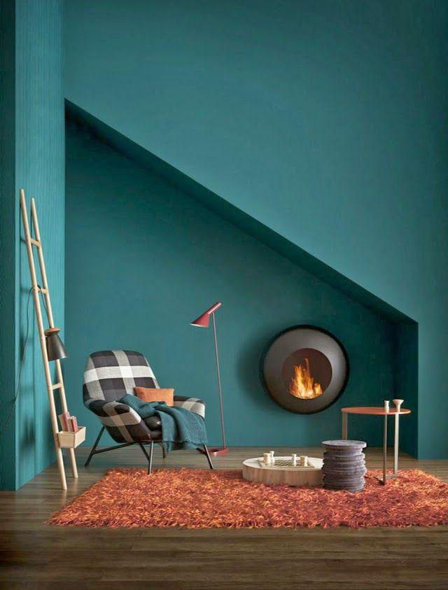 Peinture murs tendance bleu petrole salons pinterest for Peinture mur bleu