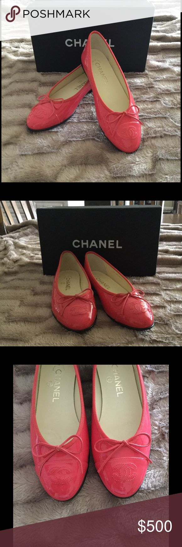 NEW Chanel flats Chanel coral flats New, never worn. Patent calfskin leather. CHANEL Shoes Flats & Loafers