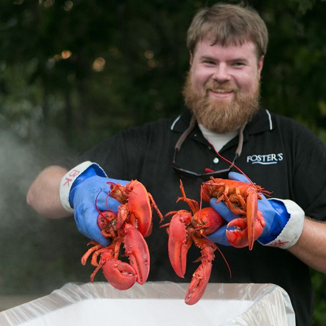 Foster's finest serving up another lobster bake at a summer wedding. Photo credit @nadraphotography #mainelobster #lobsterbake #clambakesinmaine #lobsterbakesinmaine #weddingcaterer #eventcaterer #southernmainecatering #maineweddingcaterer #yorkmainecatering #yorkweddings #maineweddings