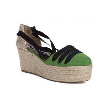 Espadrill Sandal  by ROCHAS  Green canvas sandal with natural espadrill platform Black ribbon detail at toe and black ribbon tie around ankle