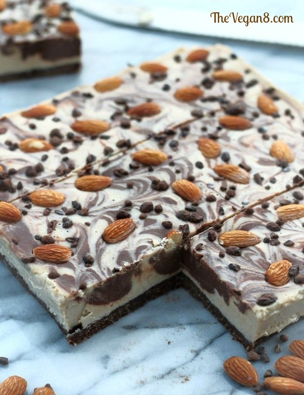 Chocolate Almond Cheesecake Bars: you won't believe it's dairy-free! (raw, vegan)