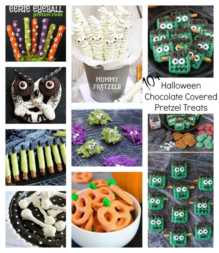 Halloween Themed Chocolate Covered Pretzel Treats