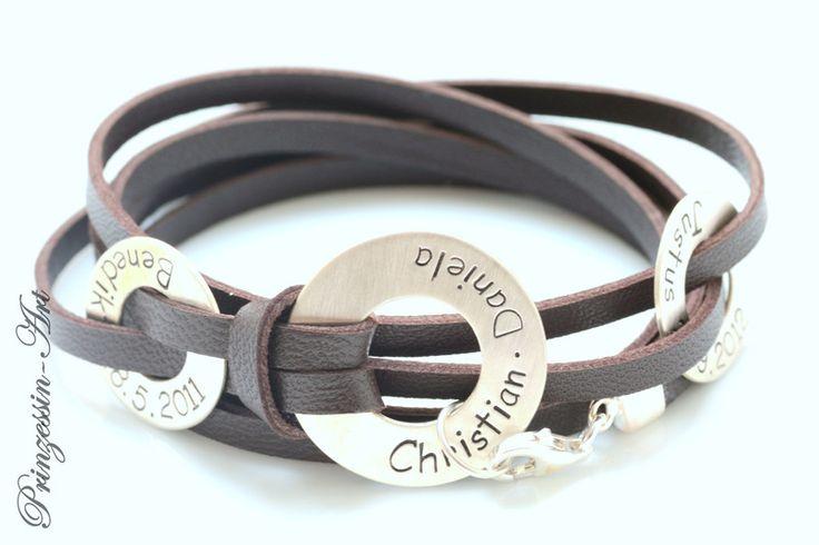 Armbänder - Männerarmband mit Gravur, 925 Silber, Armband Mann - ein Designerstück von Prinzessin-Art bei DaWanda