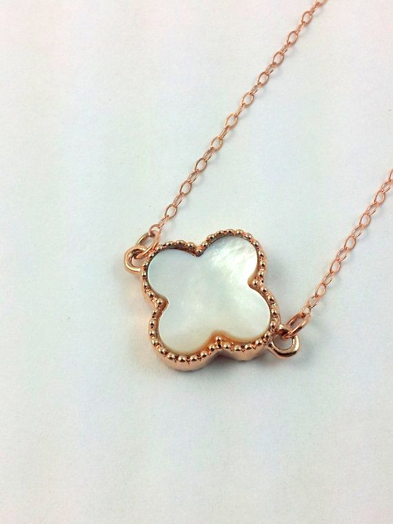 Gold Filled Clover Necklace Mother of Pearl by divinitycollection