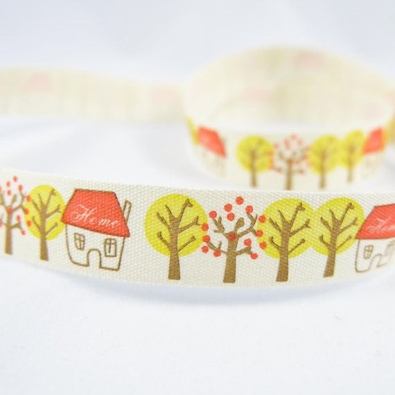 Autumn Fall Season Children Little Red Houses by TheCabochonMarket