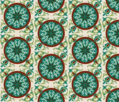 Cream Teal Medallions fabric by cutencomfy on Spoonflower - custom fabric
