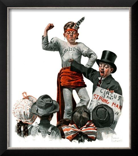 """Circus Strongman"", June 3,1916 Giclee Print by Norman Rockwell at Art.com"
