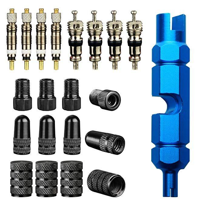 Singare Tire Repair Kits 1pcs Valve Core Tool 4pcs Presta Valve