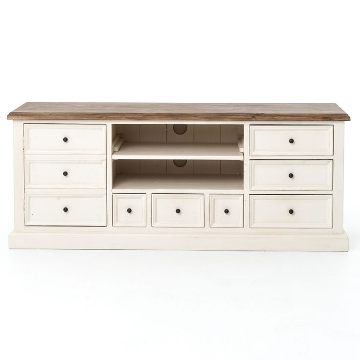 Cottage Reclaimed Wood White Tv Cabinet