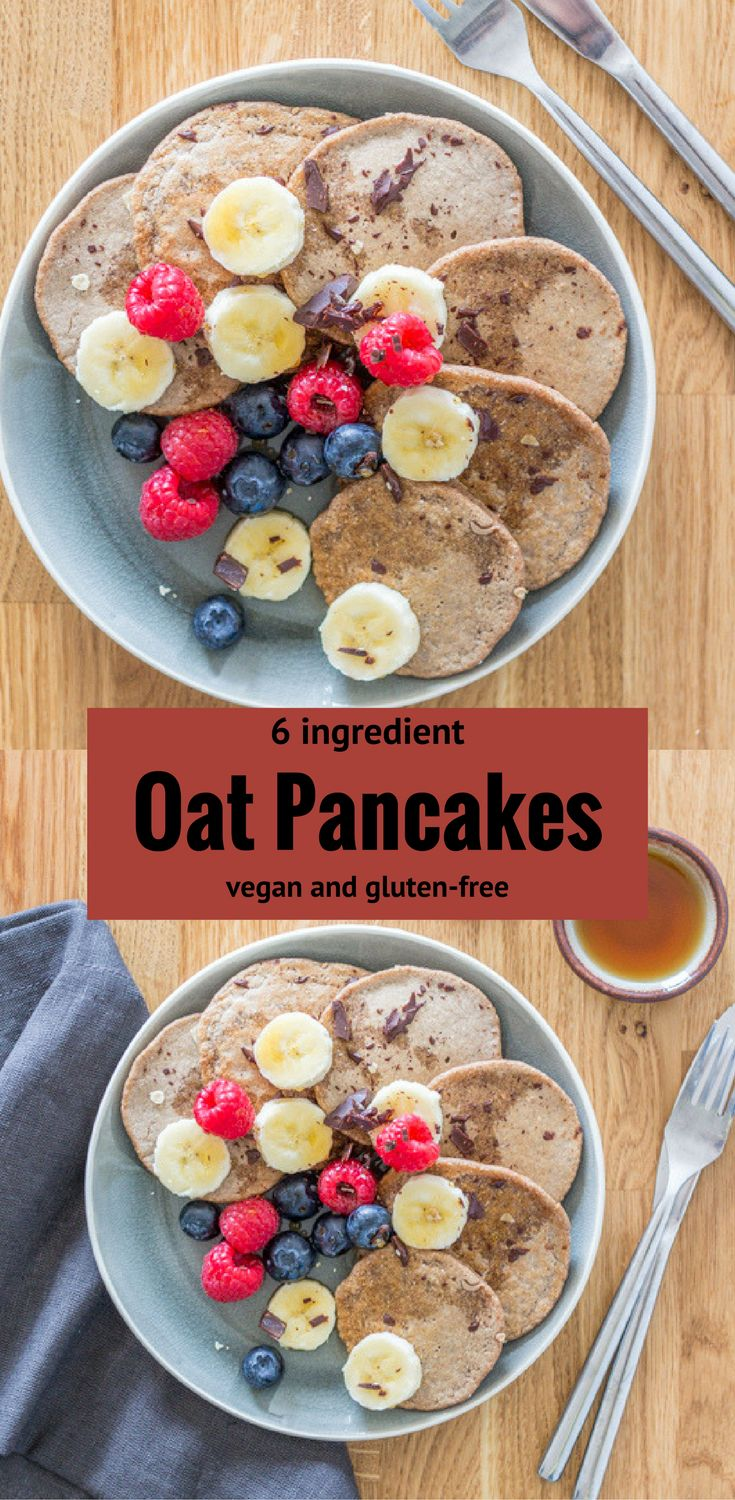 These 6 Ingredient Vegan Oat Pancakes are filling, delicious, and healthy. They're free from sugar, oil and gluten, if you choose gluten-free oats.  Healthy vegan breakfast | vegan breakfast | vegan pancakes | healthy vegan pancakes | healthy | vegan | breakfast