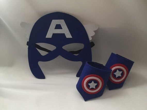 Captain America mask and arm cuffs. Birthday party favors, costume, capes, costumes, dress up, cosplay.