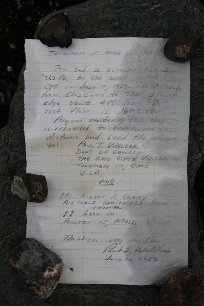 Message in a bottle reveals fact about glacier Letter written in 1959 and buried in Arctic cairn tells distance to glacier and asks anyone finding it to re-measure; researchers discover 233-foot retreat