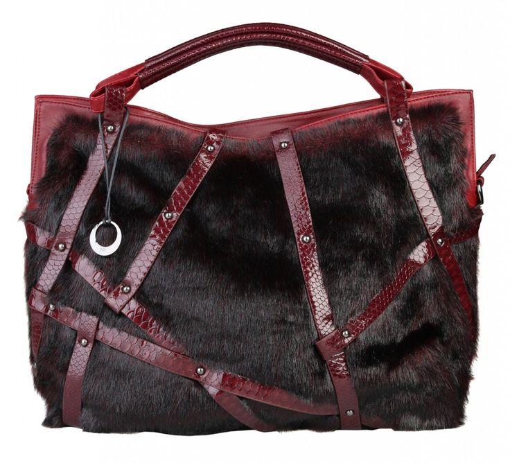 Dámská velká kabelka Segue, s kožešinkou - tmavě červená | obujsi.cz - dámská, pánská, dětská obuv a boty online, kabelky, módní doplňky