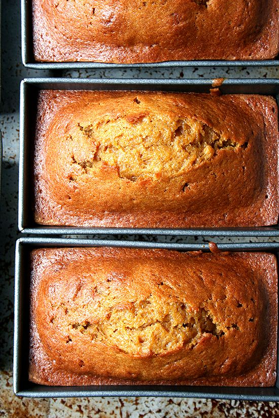 Pumpkin Bread Recipe: sugar, vegetable oil, eggs, canned pumpkin purée, flour, baking soda, salt, cinnamon, cloves, nutmeg and allspice. †▼▼†
