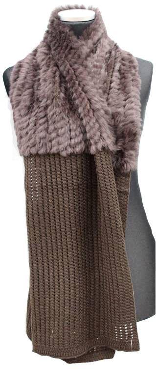Brown Knit Muffler with Rabbit Fur