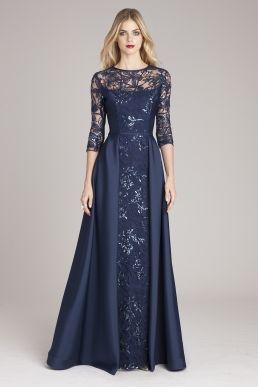 Stretch Velvet Portrait Collar Gown   Teri Jon  – Cm2