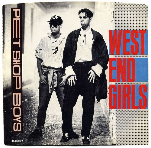 "Pet Shop Boys, ""West End Girls"" [1985 version] ""7"" single cover, Single from the album Please"