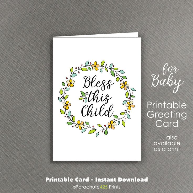 Baby Card Printable, baby shower card, baby congratulations, Bless This Child, Christening card, baby quote card, religious baby, baby card by Parachute425Prints on Etsy